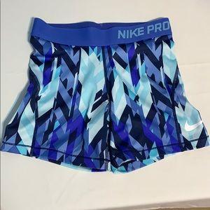Girls Nike Pro Training Shorts Geoprism Pattern L